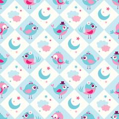 seamless birds bedroom wallpaper background pattern - Vector