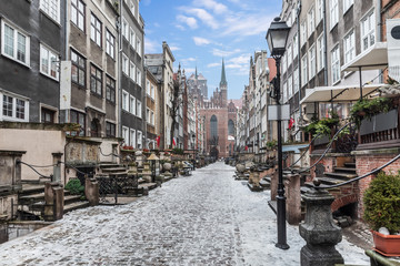Famous Mariacka street, a landmark of the Old Town of Gdansk, Poland