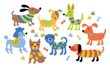 Cute dogs set.