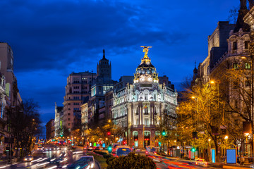 City of Madrid by Night in Spain