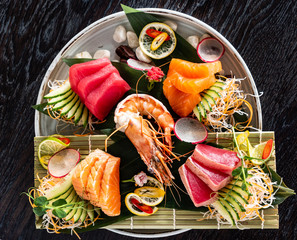 Japanese food. sushi and sashimi big set