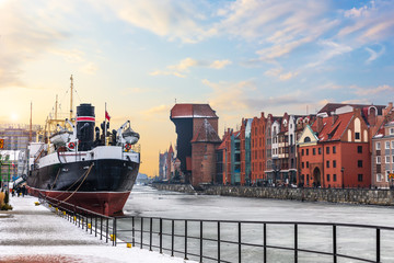 Soldek ship, the Motlawa and Zuraw Port Crane in Gdansk, Poland, winter view