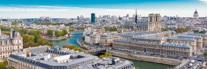 Paris, the Notre-Dame cathedral on the ile de la Cite, with the Seine and the City Hall,  panoramic cityscape