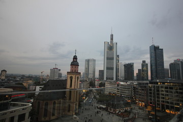 Frankfurt Skyline from Building Balcony