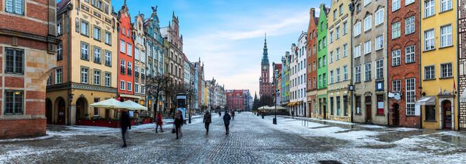 Panorama Gdańska, piękny widok na ulicę Długi Targ