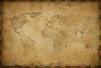 Vintage old world map illustration based on image furnished by NASA