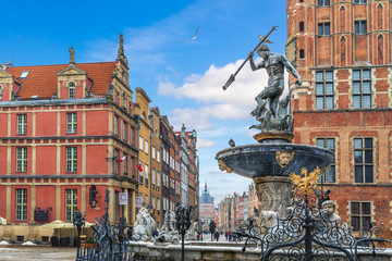 The Neptune's Fountain near the Town Hall of Gdansk, Poland