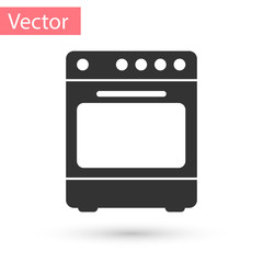 Grey Oven icon isolated on white background. Stove gas oven sign. Vector Illustration