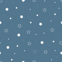 Cute seamless vintage blue pattern with cartoon outlined and dotted stars and dots. Children's bedroom, baby nursery wallpaper. Gift wrapping paper. Vector Illustration.