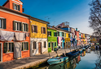 Burano, an island in the Venetian Lagoon, Venice, Veneto, northern Italy. Located at the northern end of the Lagoon, known for its lace work and brightly coloured homes.