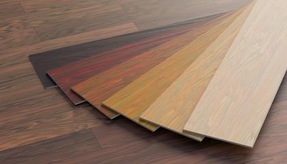 Color samples of wooden laminate floor. 3D rendered illustration.