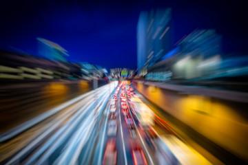 busy night highway traffic