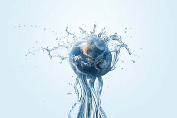 Saving water and world environmental protection concept. Eearth, globe, ecology, nature, planet concepts