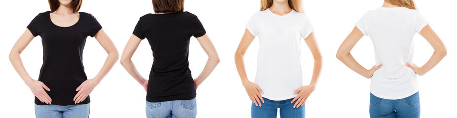 Woman In White And Black T Shirt Isolated Front And Rear Views Cropped image Blank T-shirt Options, Girl In Tshirt Set. Mock Up. Shirt Design And People Concept.