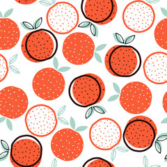 Seamless pattern with geometric orange. Vector hand drawn illustration.