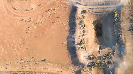 A Bone dry farm dam in the far west of New South Wales, Australia during a drought.