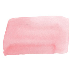 Pink watercolor spot, hand drawn watercolor stain smear brush, isolated on white background