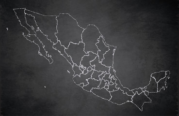 Mexico map, new political detailed map, separate individual states, with state names, card blackboard school chalkboard blank