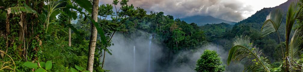 Antena nad Sekumpul siklawą otaczającą gęstym tropikalnym lasem deszczowym i górami okrywającymi w mgle przy wschodem słońca, Bali, Indonezja panoramiczny