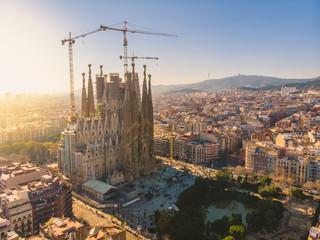 BARCELONA, SPAIN - 2019: Sagrada Familia cathedral aerial panoramic view.