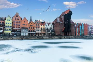Winter Motlawa and Zuraw Port Crane, Gdansk, Poland