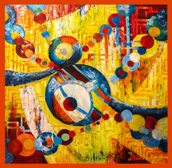 Oil painting - fantasy, abstraction created from colorful balloons on a yellow background