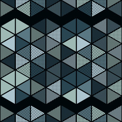 Trendy seamless pattern designs. Figures from multi-colored hexagons. Vector geometric background. Can be used for wallpaper, textile, invitation card, wrapping, web page background.