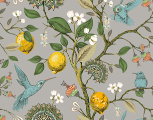 Floral vector seamless pattern. Botanical wallpaper. Plants, birds flowers backdrop. Drawn nature vintage wallpaper. Lemons, flowers, hummingbirds, blooming garden. Design for fabric, textile, paper