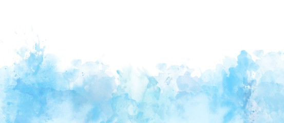 Watercolor border isolated on white, artistic background