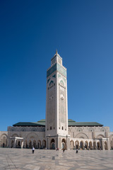 The external view of the Mosquée Hassan II on a sunny day in Casablanca in Morocco