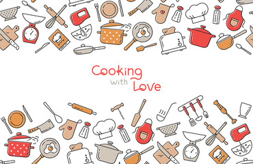 Cooking flat horizontal seamless pattern with lettering or place for text. Kitchen utensil and appliance cartoon texture. Food preparation Scandinavian illustration. Kitchenware sketch clipart.