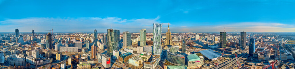 Beautiful panoramic aerial drone view to the center of Warsaw City and