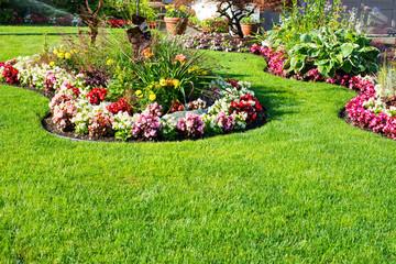 Beautiful spring, summer garden in full bloom.