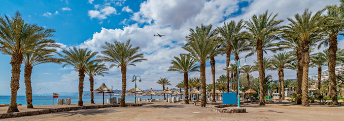 Panoramic view on the central beach of Eilat - famous tourist resort and recreational city in Israel