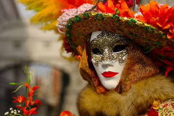 Venice carnival, portrait of mask