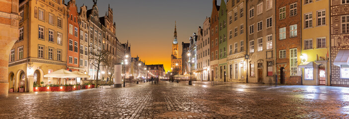 Long Market  Panorama, Gdansk, Poland, evening view
