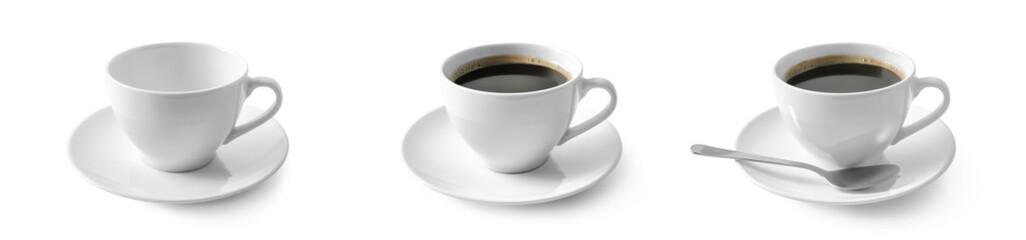 Czarna kawa w filiżance na białym tle