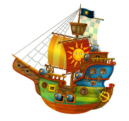Cartoon pirate ship with still hot cannons on white background - illustration for the children