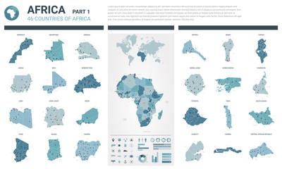 Zestaw map wektorowych. Wysoko szczegółowe 46 map krajów afrykańskich z podziałem administracyjnym i miastami. Mapa polityczna, mapa kontynentu afrykańskiego, mapa świata, glob, plansza elementów. Część 1.