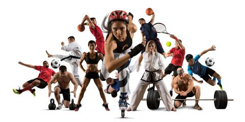 Huge multi sports collage roller skating, taekwondo, tennis, soccer, basketball, etc