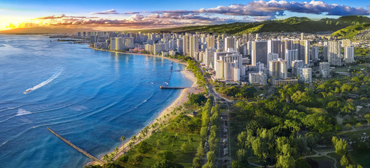Honolulu skyline with ocean front