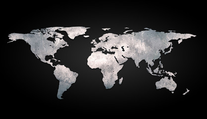 3d world map metal on black background