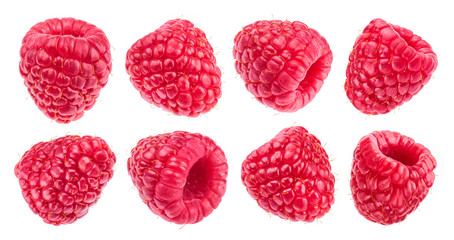 Raspberry isolated on white background. Collection