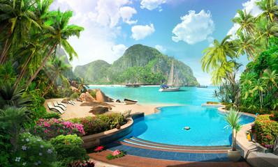tropical beach in thailand, yacht hotel