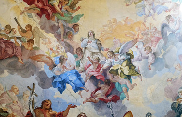 Glory of the Florentine saints, fresco by Vincenzo Meucci in the Basilica di San Lorenzo in Florence, Italy