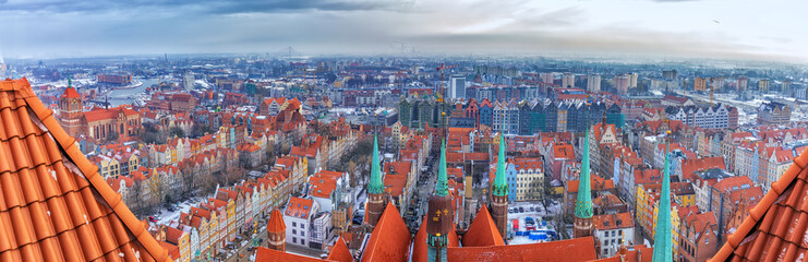 Gdansk aerial panorama, view from the roof of the Church of St Mary's