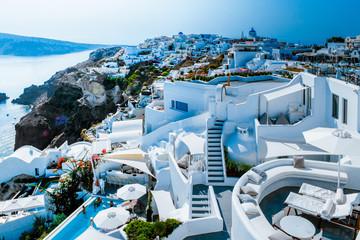 Santorini colorful town Oia with blue white Caldera