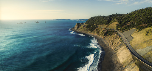 Pacific Coast Highway 101 in Oregon near Port Orford and Humbug Mountain, taken from the air with a drone