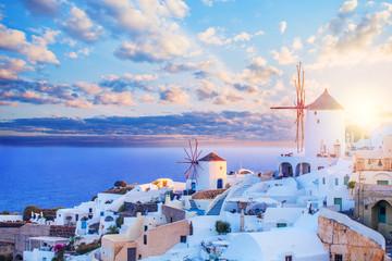 Santorini skyline. Beautiful Santorini landscape against blue sky with clouds. Oia town, Greece landmark
