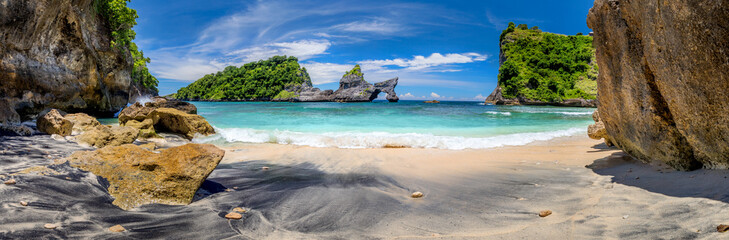 Big Panorama of idyllic tropical beach with small island and perfect azure clean water